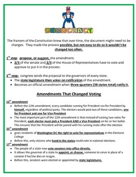 Citizen's Rights and Amendments STUDY GUIDE - 5th Social Studies
