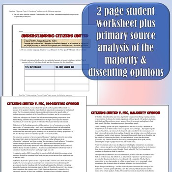 Citizens United Supreme Court Case Analysis Lesson