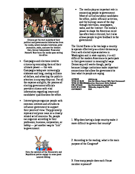 Informational Text-Citizens and Government: How Do Citizens Connect? (Sub Plans)
