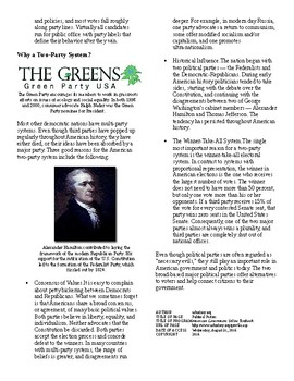 Informational Text - Citizens and Their Government: Political Parties (no prep)
