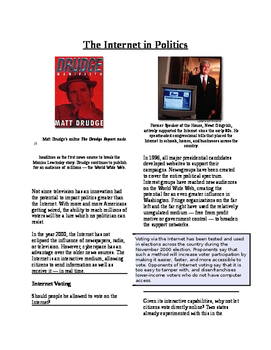 Informational Text-Citizens and Government: The Internet and Politics (Sub Plans