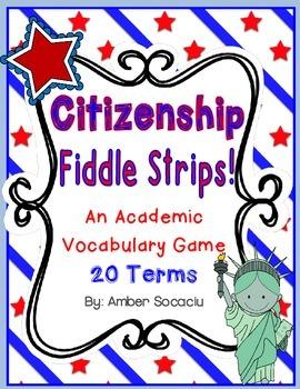 Citizenship Academic Vocabulary Fiddle Strips!