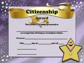 Citizenship Certificates - Stars Theme - King Virtue