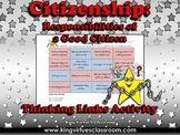 Citizenship: Good Citizen or Bad Citizen Thinking Links Activity #1 - EK