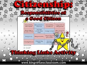 Citizenship: Good Citizen or Bad Citizen Thinking Links Activity #1 - EK