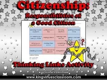 Citizenship: Good Citizen or Bad Citizen Thinking Links Activity #2 - School