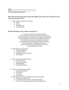 Citizenship Final Exam