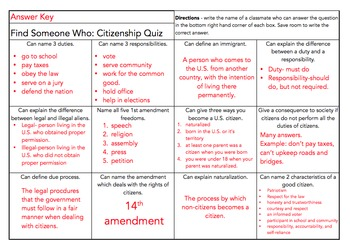 Citizenship Find Someone Who Review