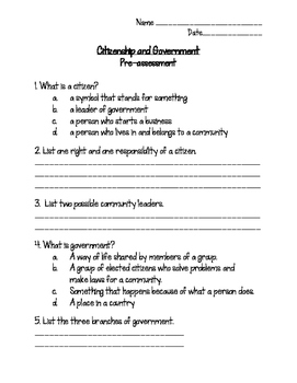 Citizenship & Government quiz/pre-assessment