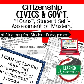 Citizenship I Cans, Self-Assessment of Mastery, CIVICS
