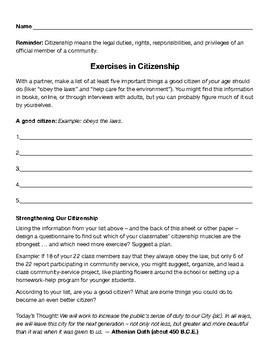 Citizenship Character Lesson Plan
