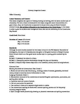 Citizenship- Literacy Integration