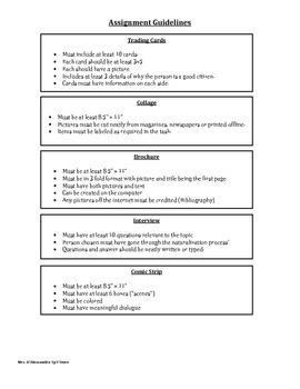 Citizenship Menu- Differentiated Instruction