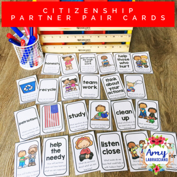 Citizenship Partner Pair Cards with Engagement Questions