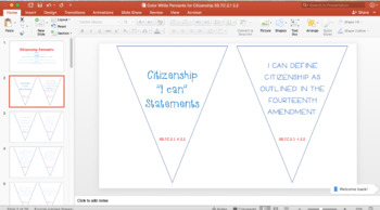 Citizenship Pennants: Standards, I Can, Key Vocab, & Processes SS.7.C.2.1 2.2