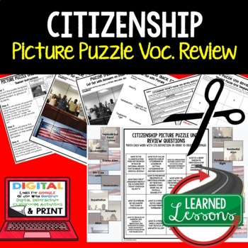 Citizenship Picture Puzzle Unit Review, Study Guide, Test Prep
