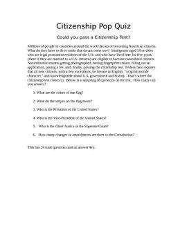 Citizenship Pop Quiz