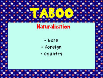 Citizenship PowerPoint Game with TABOO - Government, U.S. History, Civics