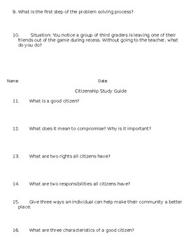 Citizenship Pre-Test, Study Guide and Test