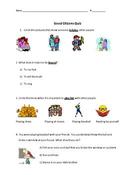 Citizenship Quiz or Worksheet Grade 1