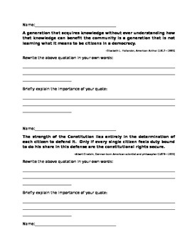 Citizenship Quote Analysis Worksheet