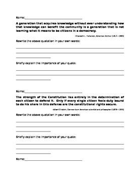 Citizenship Quote Analysis Worksheet
