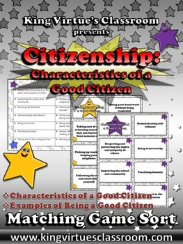 Citizenship: Responsibilities of a Good Citizen Matching Game Sort