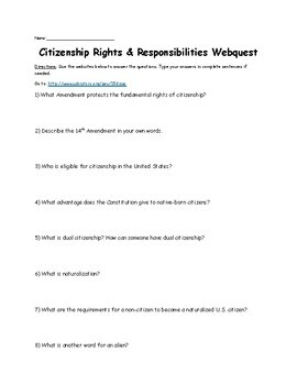 Citizenship Rights and Responsibilities Webquest