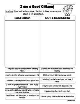 Citizenship Sorting Activity - Good Citizen or Not?  Worksheet - Social Studies