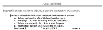 Citizenship Test/ Assessment SS.7.C.2.1 & 2.2