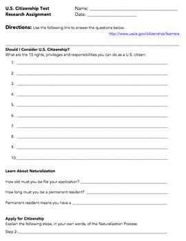 Citizenship Test Research Assignment