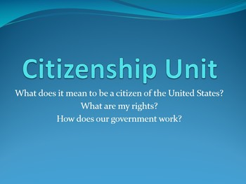 Citizenship Unit (Government) for 5th Grade Social Studies