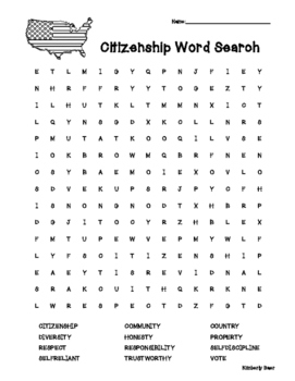 Citizenship Vocabulary Cards, Citizenship Quiz and Word Search Combo Pack