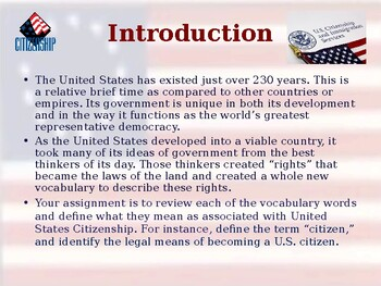 Citizenship - Vocabulary Exercise