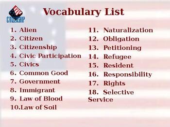 Citizenship - Unit Vocabulary Exercise