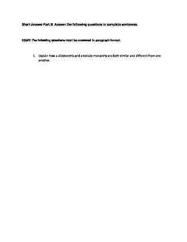Citizenship and Forms of Government Study Guide
