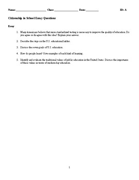 Citizenship in School Discussion/Essay Questions