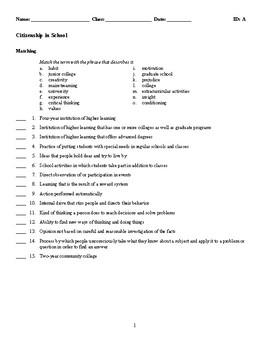 Citizenship in School Test