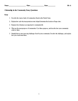Citizenship in the Community Discussion/Essay Questions