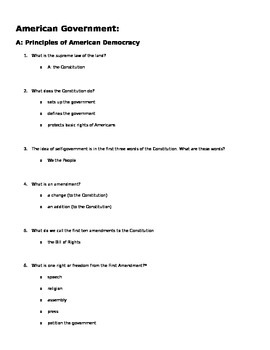 Citizenship test answer key