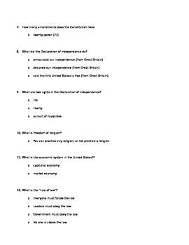 Citizenship test answer key