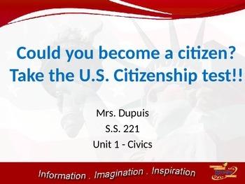 Citizenship test powerpoint