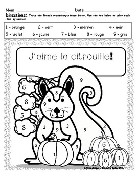 Citrouilles! French pumpkin color by number pages (6 pages)