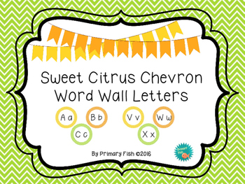 Chevron Word Wall Letters - Sweet Citrus Theme