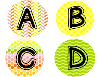 Citrus Colored Alphabet Circles