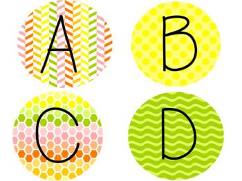 Citrus Colored Alphabet and Number Circles Bundle