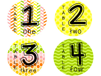 Citrus Colored Table Numbers- Editable
