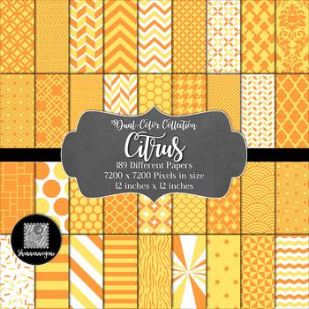 12x12 Digital Paper - Color Scheme Collection: Citrus (600dpi)