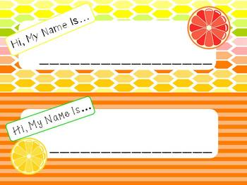 Citrus Fruit Nametags- 3 versions