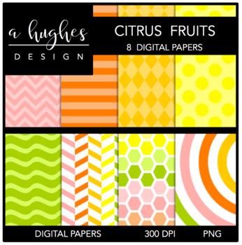 12x12 Digital Paper Set: Citrus Fruits {A Hughes Design}